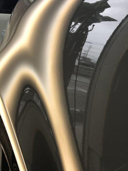 アバルト 595 ドアとクォーターパネルに出来たドアパンチ凹みをデントリペア修理 神戸市東灘区の方からのご依頼です!!