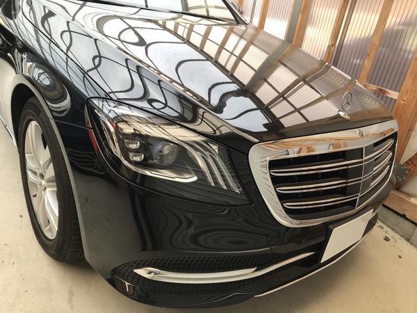 ベンツ S450 アルミボディのルーフに出来た凹みをデントリペアで修復 神戸市北区の業者様からのご依頼です!
