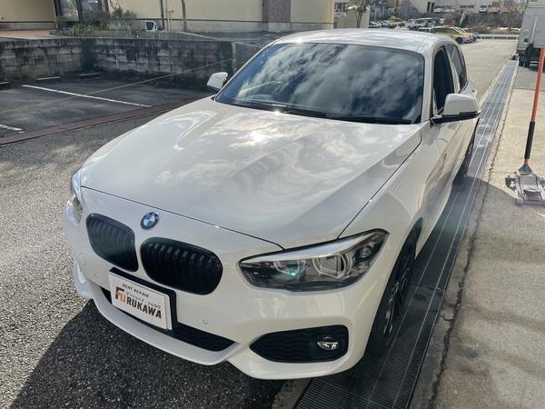 BMW 118d フロントドアに出来た凹みをデントリペア修理 神戸市中央区にお住いの方からのご依頼です!